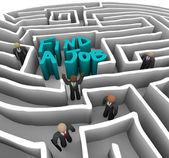 Vinden van een baan - bedrijf in doolhof — Stockfoto