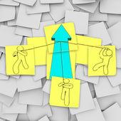 Teamwork - Lifting the Growth Arrow — Stock Photo