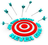Arrows Miss Bulls-Eye - Never Give Up — Stock Photo