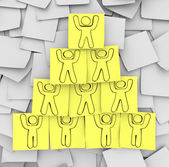 Cooperation Pyramid Drawn on Sticky Notes — Stock Photo