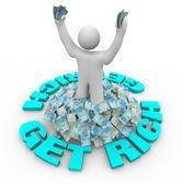 Get Rich - Figure Standing in Money — Stock Photo
