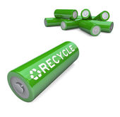 Green Batteries - Recycling Symbol on AA Battery — Stock Photo