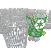 Choosing to Recycle - Many Trash Bins — Stock Photo