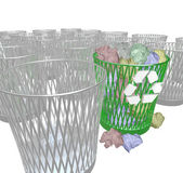 Choosing to Recycle - Many Trash Bins — Stock Photo