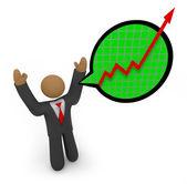Predicting Major Growth - Businessman Speech Bub — Stock Photo