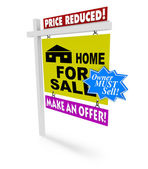 Price Reduced - Home for Sale Sign — Stock Photo