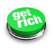 Get Rich - Green Button — Stock Photo