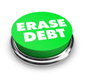Erase Debt - Green Button — Stock Photo