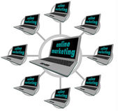 Online Marketing - Connected Computers — Stock Photo