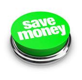 节省金钱-绿色按钮 — 图库照片