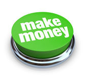 Make Money Button - Green — Stock Photo