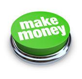 Make Money Button - Green — Stock Photo