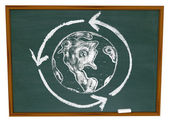 Earth and Recycle Symbol on Chalkboard — Stock Photo