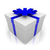 Presente con nastro azzurro — Foto Stock