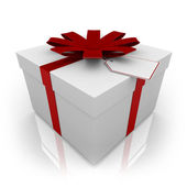 White Present with Red Bow and Tag — Stock Photo