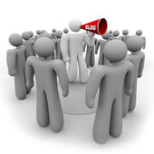 Blogger with Bullhorn and Audience — Stock Photo
