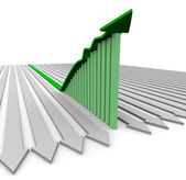 Green Growth Arrow - Bar Graph — Stock Photo