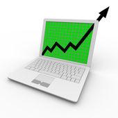 Growth Arrow on Laptop Computer — Stock Photo