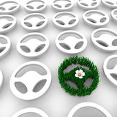 Green Car Steering Wheel AMong Many Others — Stock Photo