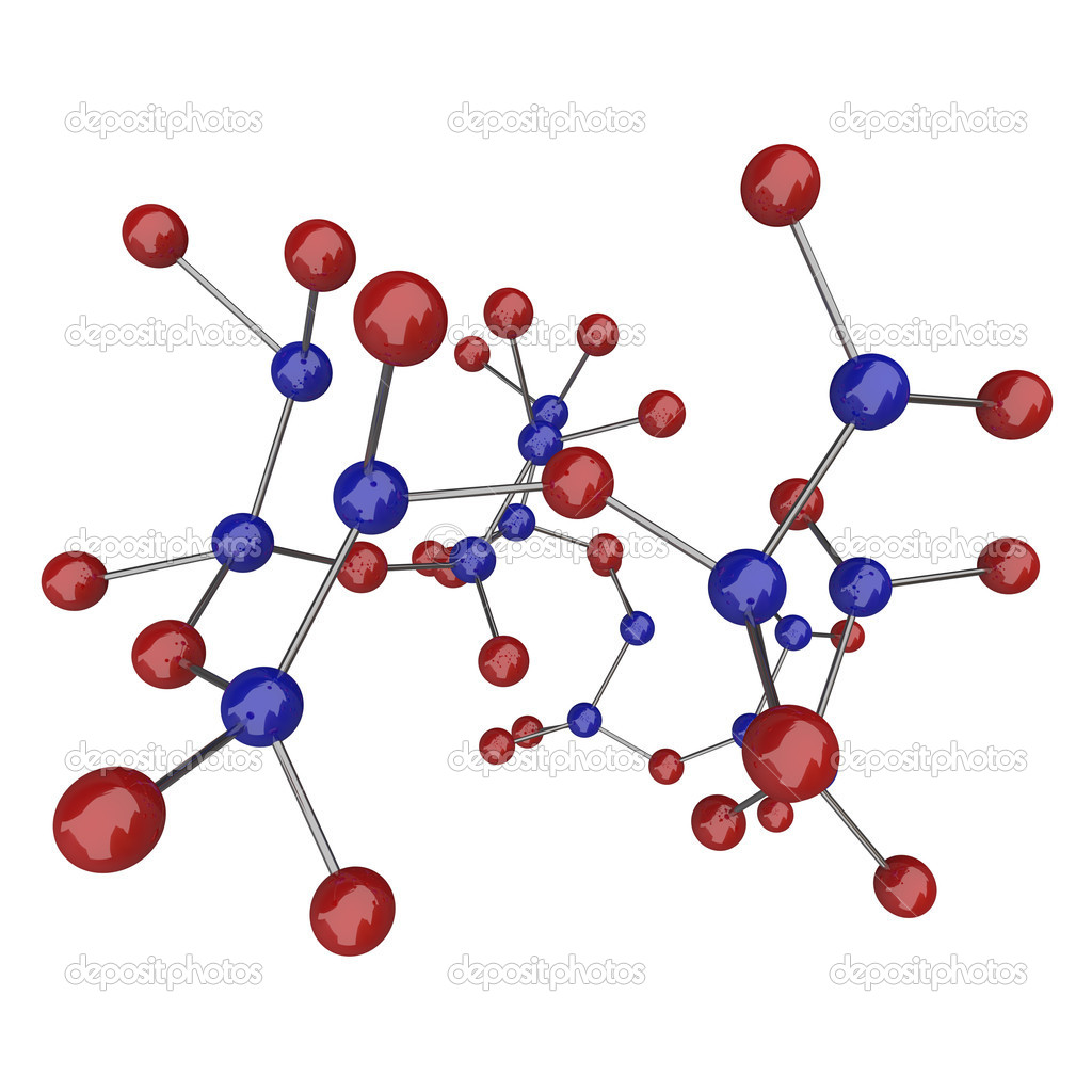 A large molecule with many blue and red atoms — Stock Photo #2074358
