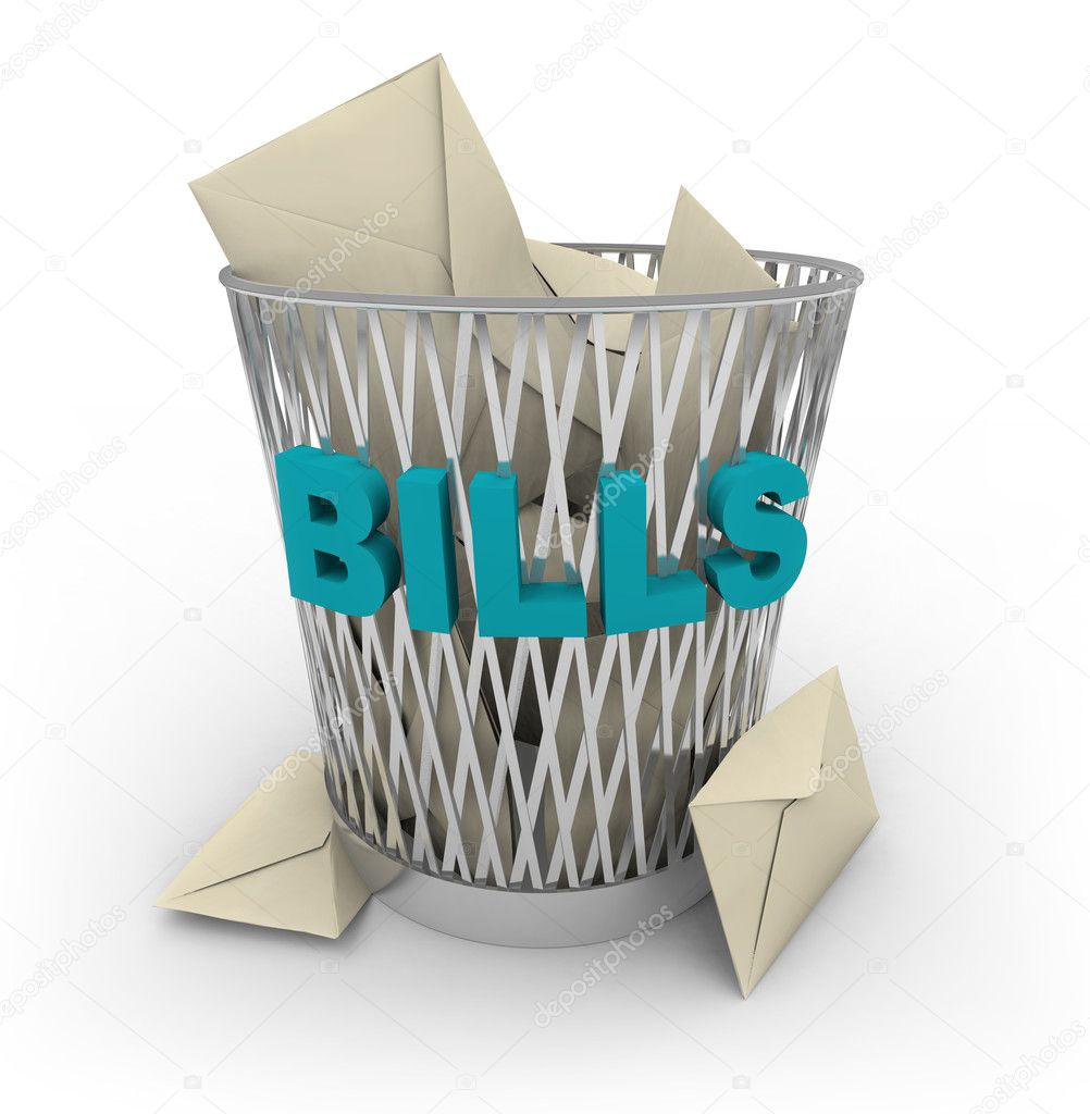 Rid yourself of your bills -- throw them away in this shiny metal garbage basket — Stock Photo #2074487