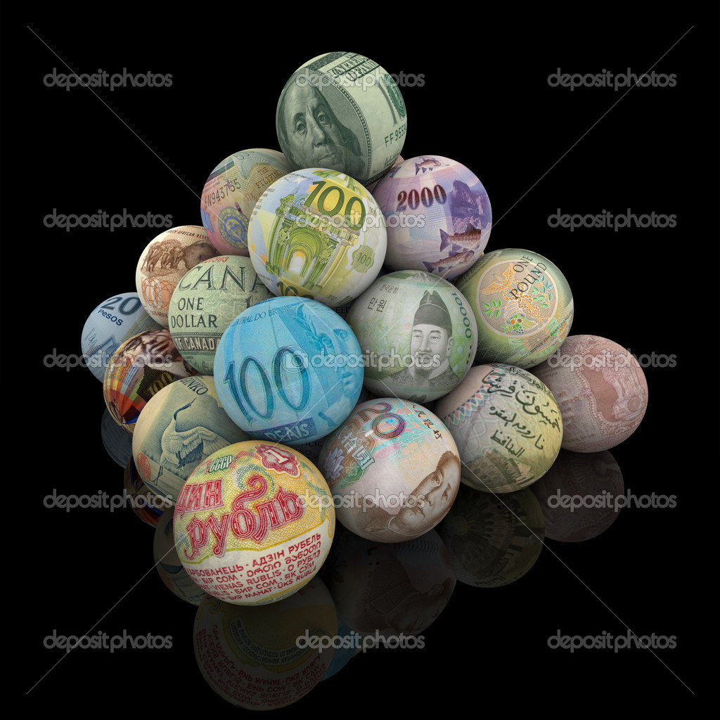 A pyramid of spheres, each covered in a different major world currency. — Stock Photo #2074531