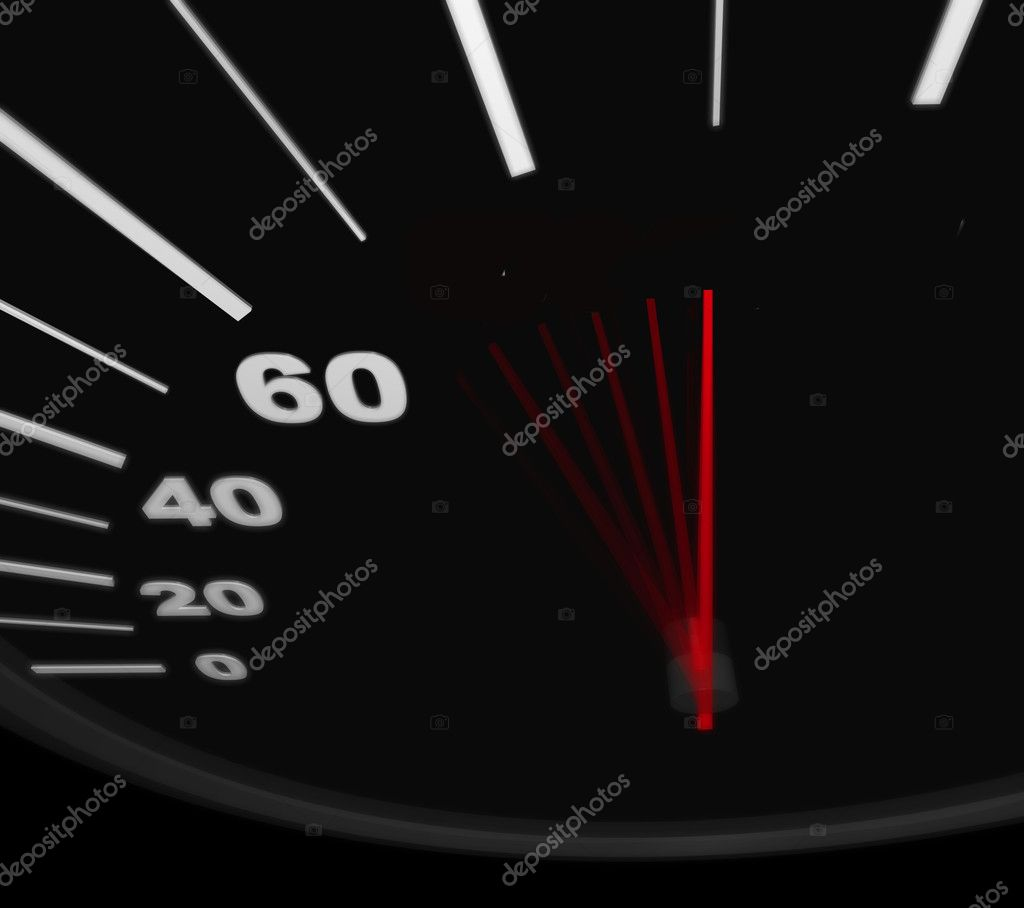 A black automobile speedometer with red needle pushing to the word Success — Stock Photo #2075257
