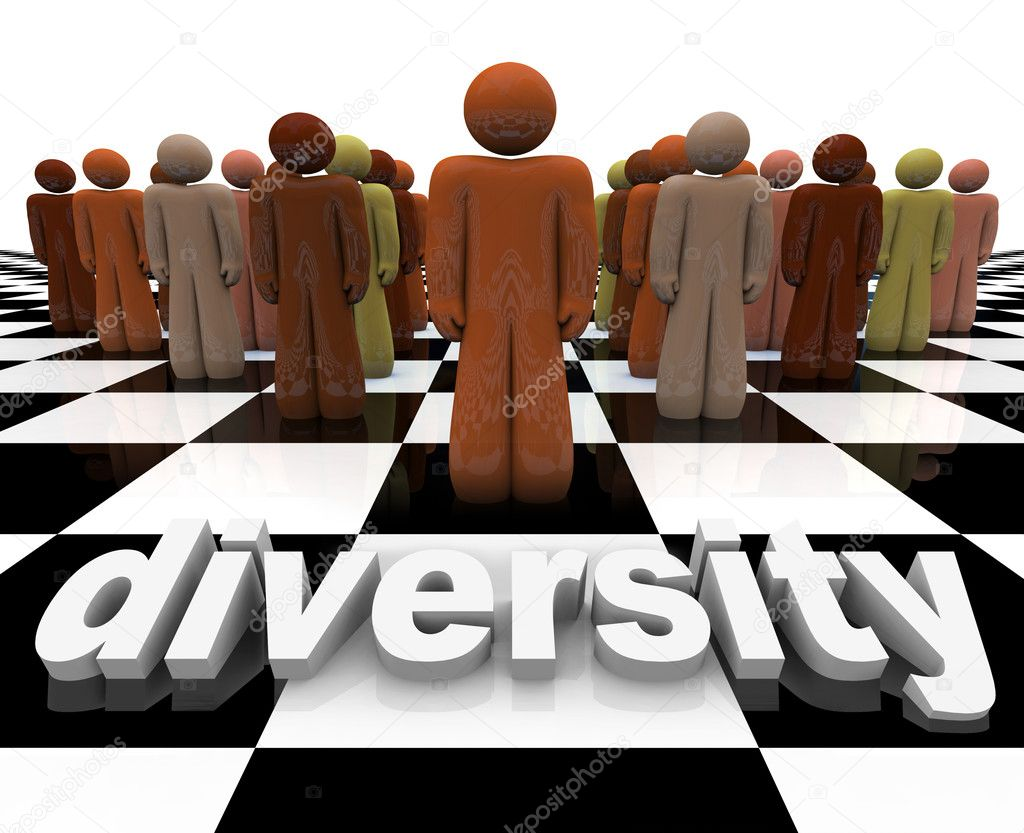 The word Diversity on a chessboard with a line-up of many of different races. — Stock Photo #2075262