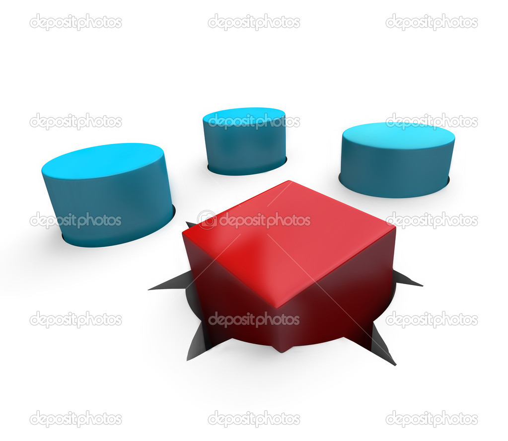 A red cube is a poor fit in a round hole — Stock Photo #2075279