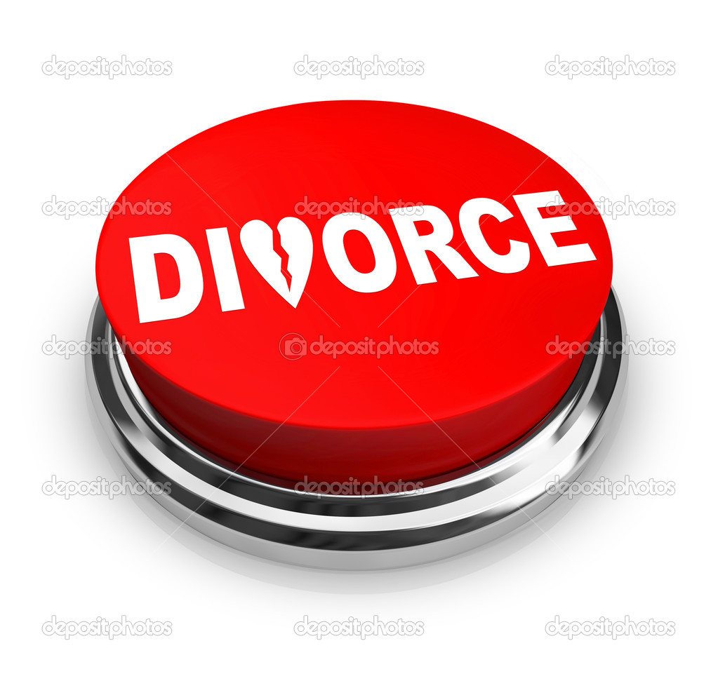 A red button with the word Divorce on it — Stock Photo #2075427