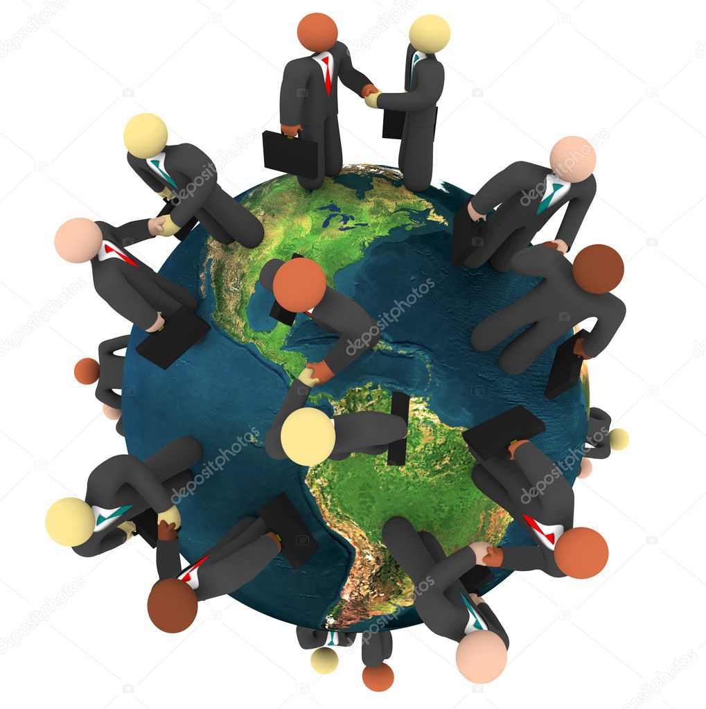 A network of global businessmen shaking hands to close deals — Stock Photo #2075616