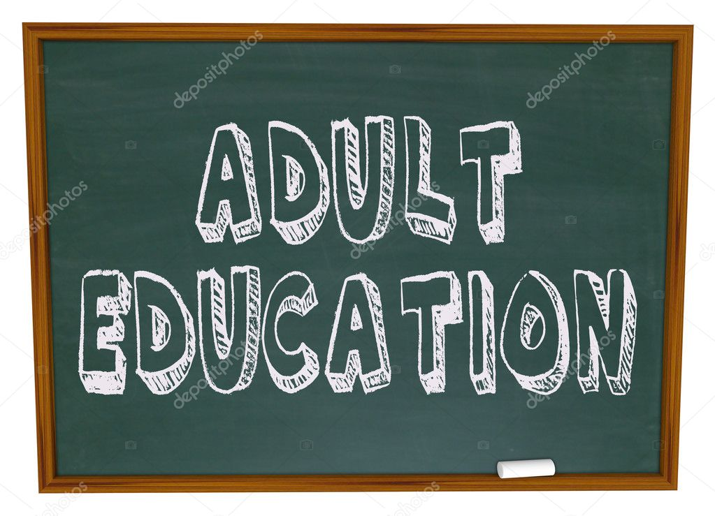 The words Adult Education written on a chalkboard — Stock Photo #2075731