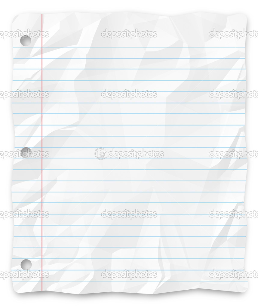 A White Wrinkled Piece Of Lined School Paper Background