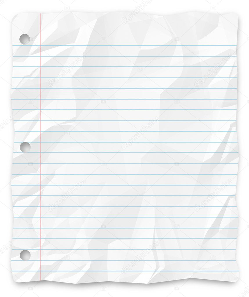 A white, wrinkled piece of lined school paper background for slides, brochures and presentations.  Stock Photo #2075833