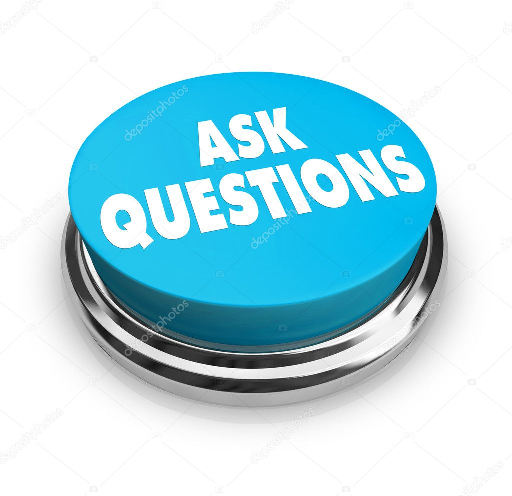 A blue button with the words Ask Questions on it  Stock Photo #2076246