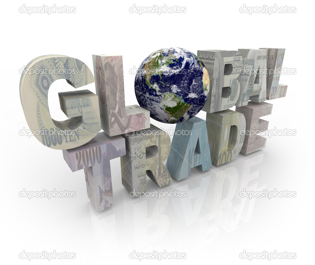 The words Global Trade showing various world currencies — Stock Photo #2076644