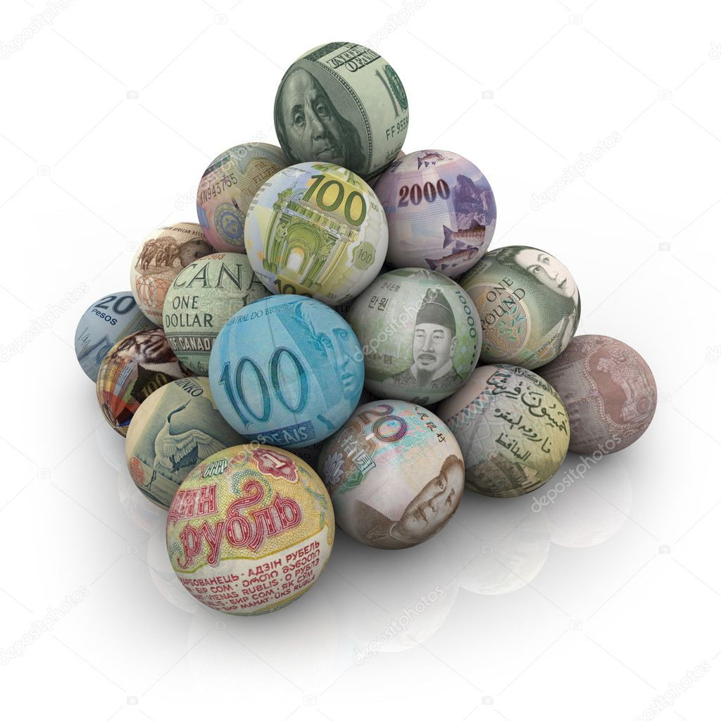A pyramid of balls representing world currencies — Stock Photo #2076670