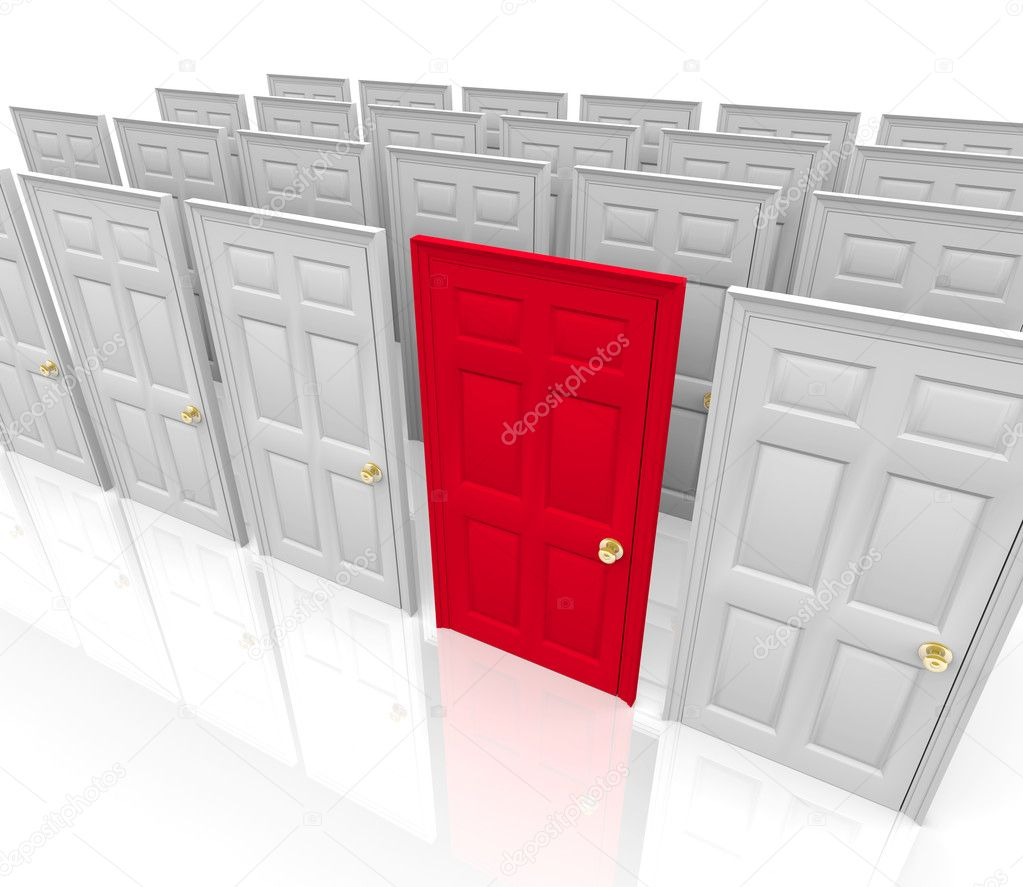 Many doors stand before you... do you choose the red one? — Stock Photo #2076843