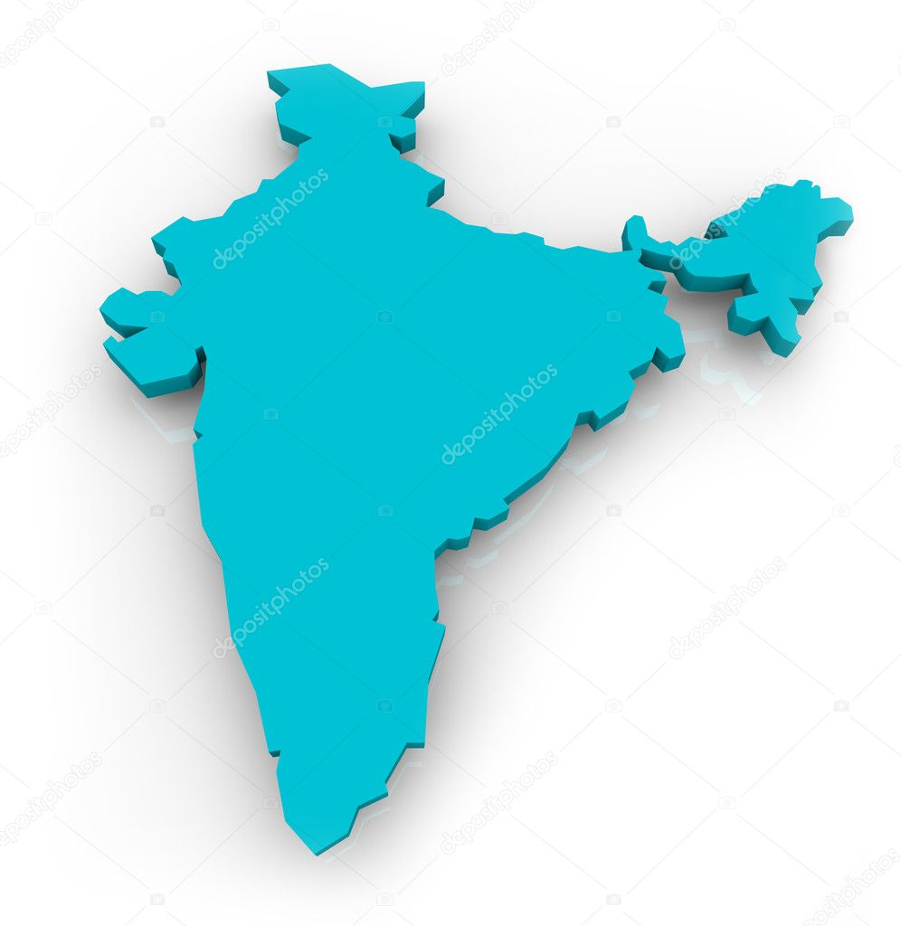 A 3d map of India on a white background — Stock Photo #2076972
