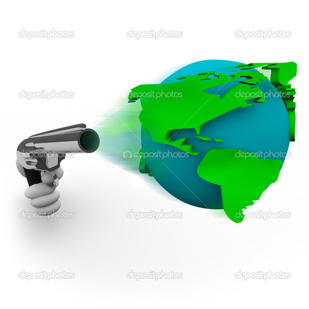 A handgun fires the Earth as a bullet — Stock Photo #2077031
