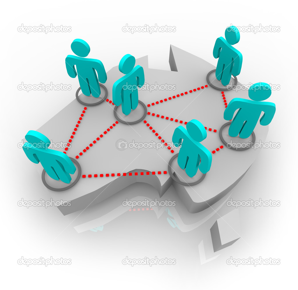 A conceptual map of Australia featuring a network of figures atop it symbolizing social and professional connections — Stock Photo #2077608
