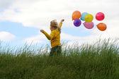 Los niños y globos — Foto de Stock
