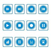 Blue simple icons — Stock Vector