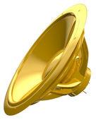Golden speaker isolated on white — Stock Photo