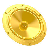 Golden speaker isolated on white — Stock Photo