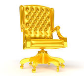 Golden chair isolated on white — Stock Photo