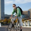 Bicyclist in the City - Stock Photo
