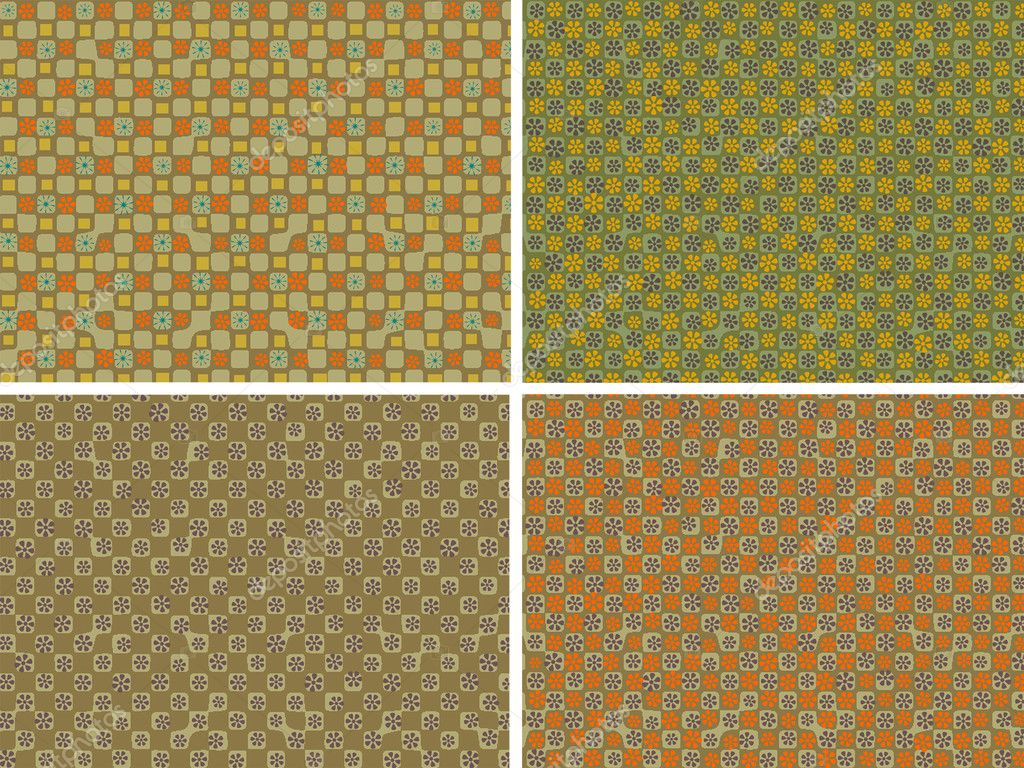 Four varicoloured backgrounds with a decorative pattern from flowers — Stock Photo #1989814
