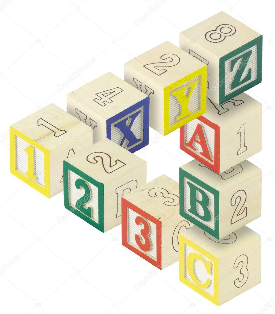 A penrose triangle created from alphabet blocks. Letters A,B,C, X,Y and Z and numbers 123 are featured.  Stock Photo #1989591