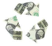 Dolar geri dönüşüm — Stok fotoğraf